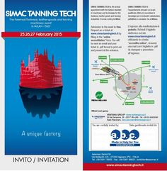 We're pleased to send you all our #simac2015 invitation for Milan 25-26-27 February! Find us HALL 18 • STAND A48. Admission to the event is free. Request an e-ticket at www.simactanningtech.it