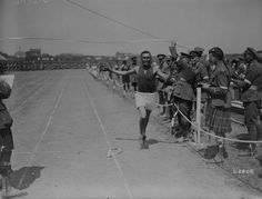 Joe Keeper in 1918 winning a 3 mile race. The location is unknown.
