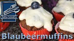 Blaubeermuffins mit Frischkäse-Frosting - Rezept von Flotte Schnitte Curry Ketchup, Stevia, Breakfast, Desserts, Muffin Recipes, Cacao Powder, Oven, Dessert Ideas, Food Food