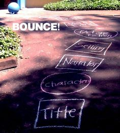 Bounce, Retell. Help students with reading comprehension by creating a winding path for them to bounce on as they retell a story. Draw different shapes and write key details inside of them (title, characters, narrator, setting, fact vs. fiction, main event, and chronological order - first, next, last). Kids plop on a jumping ball with handles, answering the key detail block they land on.
