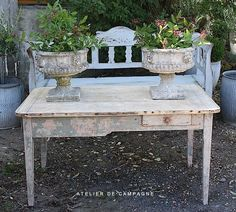Urns and French Country Table