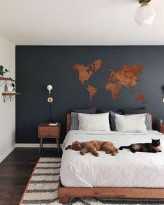 World Map Wall Art Travel Map World Map Christmas Decorations Push Pin Map Wall Art Wood Wall Art Wooden Map Farmhouse Decor Bedroom Colors, Home Decor Bedroom, Bedroom Wall, Living Room Decor, Bedroom Rustic, Design Bedroom, Bedroom Ideas, Dream Bedroom, World Map Wall Decor