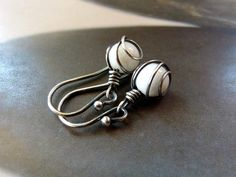 White jade Sterling  silver earrings wire wrapped dangle by Mirma