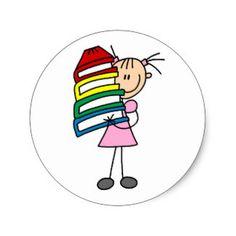 Stick Girl With Books Classic Round Sticker