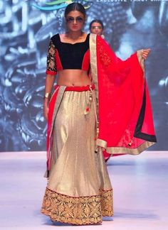 Golden Red And Black Designer Georgette A Line Lehenga Choli http://www.angelnx.com/Lehenga-Choli/Wedding-Lehenga-Choli