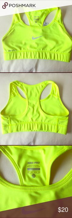 Nike neon sports bra Nike neon sports bra. Excellent condition Nike Tops Muscle Tees