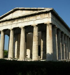 The Temple of Hephaestus or Hephaisteion or earlier as the Theseion, is a well-preserved Greek temple; it remains standing largely as built. http://www.triphobo.com/temple-of-hephaestus-athens-greece