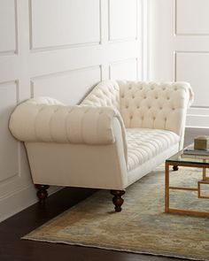"""""""Ellsworth"""" Neutral Recamier Sofa by Old Hickory Tannery at Neiman Marcus."""