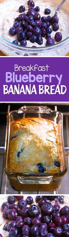 Blueberry Banana Bread, with NO oil, and no refined sugar, great for breakfast or a healthy snack recipe
