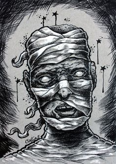 Mummy by Bryan Collins. Originals and prints available at http://www.bryancollins.etsy.com  #mummy #penandink #drawing #art #halloween #inkdrawing #scary #creepy #popart