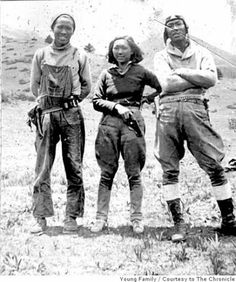 """Adelaide """"Su-Lin"""" Young (23 December 1911 – 17 April 2008) was an American explorer, journalist, and disc jockey. A Chinese American, she was the first American woman to explore the Himalayas in the 1930s and Su Lin, the first giant panda brought to the United States, was named for her. (Photo: husband Jack Young (left) and brother-in-law (at the right))"""
