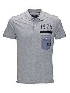 SOFT COTTON POLO SHIRT, Light Grey Melange