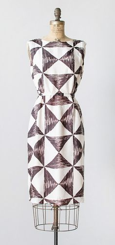 valenciennes dress | vintage 1960s triangle print silk dress