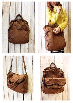 "Handmade Italian Light Brown Leather Messenger Bag ""ZIPPER"" di LaSellerieLimited su Etsy"