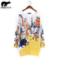 spring fashion and high quality women's print pullover sweater long design sweater dress plus size loose basic sweater