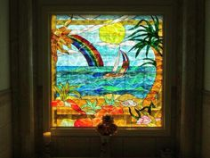 J&M Stained Glass, North Myrtle Beach, SC - Ocean, sailboat, beach, palm tree scene.