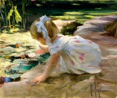 Vladimir Volegov - Russian Figurative Painter (little girl at lily pond)