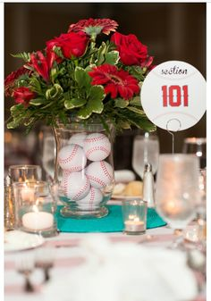 Fun and tasteful classic baseball wedding in spring one sweet baseball wedding theme baseball wedding centerpiecessports junglespirit Gallery