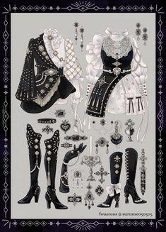 Vintage Fashion Sketches, Fashion Design Drawings, Old Fashion Dresses, Fashion Outfits, Anime Outfits, Cute Outfits, Kleidung Design, Clothing Sketches, Dress Sketches