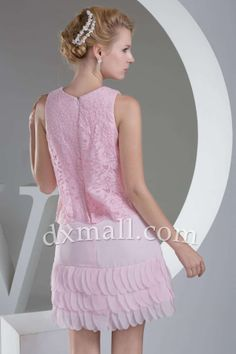 A-line Wedding Guest Dresses Scoop Short/Mini Lace Chiffon Pink 130010100107