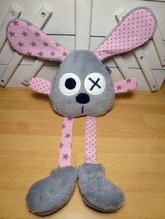 Doudou lapin gris et rose