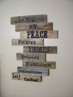 Wood Sign, Pallet Sign, Pallet Art, Fruits of the Spirit, Scripture Art, Wall Decor, Wood Plaque, Wedding Gift, Wooden Sign, Distressed Wood on Etsy, $125.00 Pallet Ideas, Wood Ideas, Pallet Wood, Pallet Art, Art Ideas, Pallet Walls, Decor Ideas, Pallet Signs, Wooden Pallet Projects