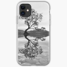 """""""Black and White Landscape Wanaka Tree"""" iPhone Case & Cover by ind3finite 