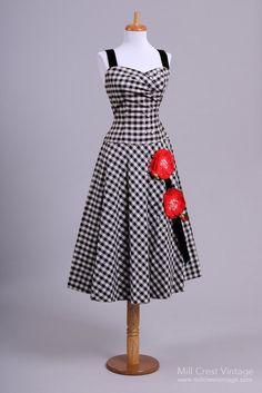 1950's Black & White Gingham Poppy Vintage Day Dress : Mill Crest Vintage