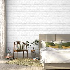 BRICK White Removable Wallpaper by Tempaper.  Sold in a double roll, this Brick pattern is a Textured Self-Adhesive Temporary wallpaper that can transform any indoor space!