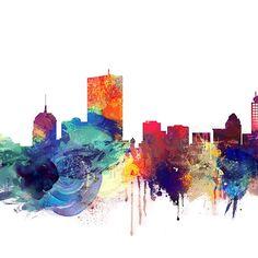 Boston Skyline, Massachusetts Watercolor Cityscape