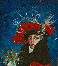 painting of woman in a red hat