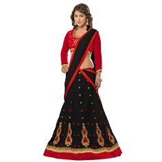 Hina Khan Net Zari Work Black Semi Stitched Lehenga - 2006B at Rs 1249