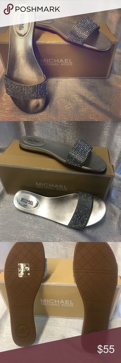 Michael Kors Silver Rhinestone Satin Sandals SZ 9 Michael Kors Silver Rhinestone Satin Sandals SZ 9 Never been wore with box MICHAEL Michael Kors Shoes Sandals