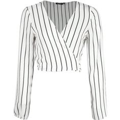 Boohoo Phoebe Striped Tie Back Blouse ($30) ❤ liked on Polyvore featuring tops, blouses, shirts, crop tops, long sleeved, white long sleeve bodysuit, white lace shirt, white lace bodysuit, white shirt and long sleeve lace shirt