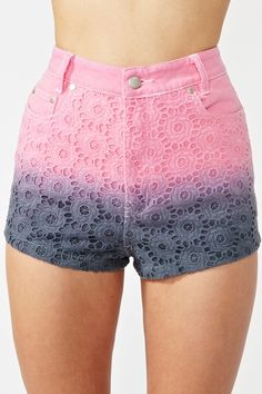 ombre denim high waisted shorts