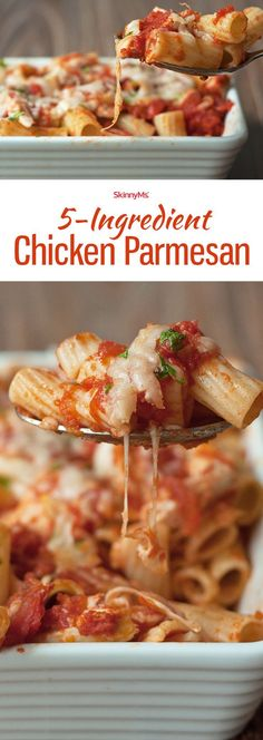 5-Ingredient Chicken Parmesan - it has all the flavors of traditional chicken Parmesan with way less fat so you can enjoy guilt-free! #skinnyms