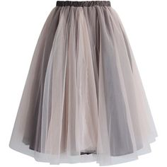 Chicwish Amore Mesh Tulle Skirt in Taupe