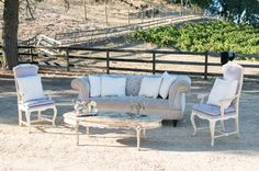 Love these neutrals for lounge seating at a vineyard wedding - the vines themselves are the pop of color!