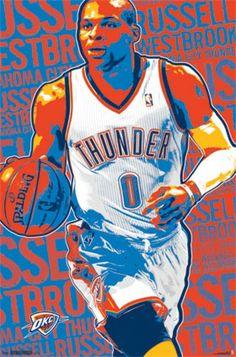 Oklahoma City Thunder - R Westbrook 13 Poster Print (24 x 36) - Item # TIARP13092 - Posterazzi