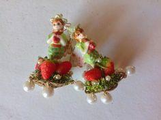 Reserved Nadia Victorian fairy earrings ,Strawberry elf ,Miriam Haskell elements,brass tulip baskets , swarovski,glass apples