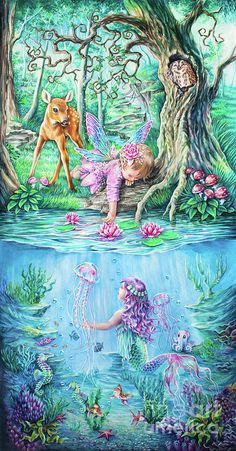 Fairy Tale by Anne Koivumaki – Fine Art Anne fantasy fairy tale mermaid under water deer owl forest tree green blue art drawing colored pencil pastels beautiful baby toddler seahorse fish jellyfish Fairy Drawings, Mermaid Drawings, Forest Drawing, Mermaid Artwork, Fairy Paintings, Fairy Pictures, Mermaids And Mermen, Fairytale Art, Beautiful Fairies