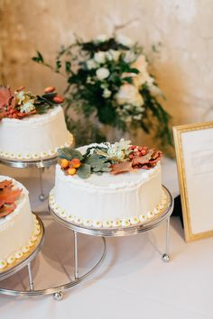 Fall accented cakes: http://www.stylemepretty.com/pennsylvania-weddings/2015/11/27/elegant-outdoor-fall-wedding-with-an-apple-orchard-ceremony/ | Photography: Emily Wren - http://emilywrenweddings.com/