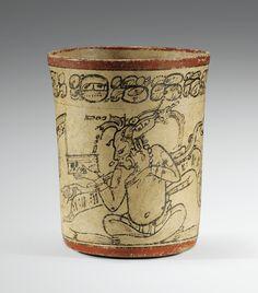 Vase cylindrique de type <em>codex</em>, scribes<strong> </strong><br>Culture Maya<br>Style de Nakbe, Guatemala<br>Classique, 600-900 ap. J.-C. | Lot | Sotheby's Mayan Symbols, Viking Symbols, Egyptian Symbols, Viking Runes, Ancient Symbols, Vases, Cylinder Vase, Mayan History, Colombian Art