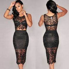 This sexy #two-piece#set#dress will make you look sexy and hot! It features sheer crochet lace crop top and bodycon skirt, which is chic and trendy  http://www.tomtop.cc/6zumyi