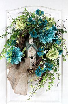 Front Door Wreath, Spring Wreath, Summer Wreath, Honeysuckle, Birdhouse, Dahlias,  Great for Country Decor -- FREE SHIPPING. $163.00, via Etsy.