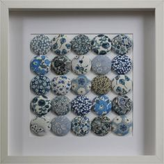 fabric covered buttons....framed!