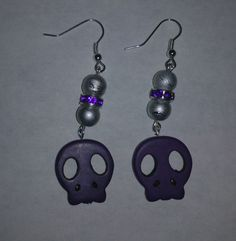 Purple Skull Earrings by NocturnalFashions on Etsy, $7.00