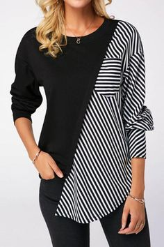 Spring Two Tone T Shirt For Women Round Neck Black Long Sleeve Striped Sweatshirt Striped Long Sleeve Shirt, Long Sleeve Shirts, Mode Hijab, Outerwear Women, Mode Outfits, Trendy Outfits, Diy Clothes, Stylish Clothes, Blouse Designs