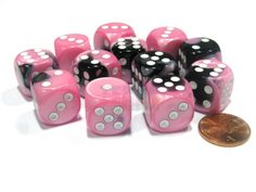 Gemini-16mm-D6-Chessex-Dice-Block-12-Dice-Black-Pink-with-White-Pips