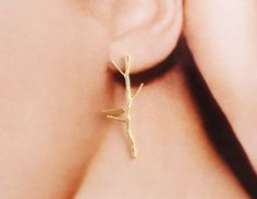 Gold Bird On Twig Earrings Twig Earring Bird by ChinChinsBoutique, $22.00